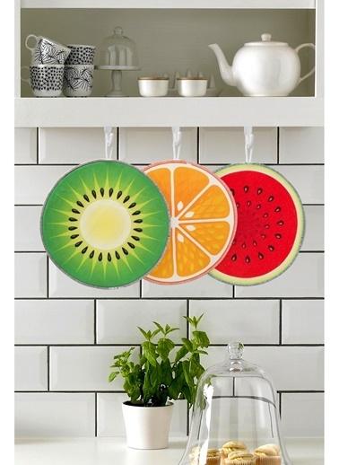 Hamur Dekoratif Mutfak Bezi 3lü Fruit 25x25 cm Renkli